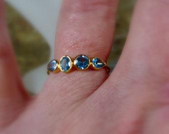 25% OFF Blue Topaz 14K Gold Ring, gemstone ring, - Made to Order