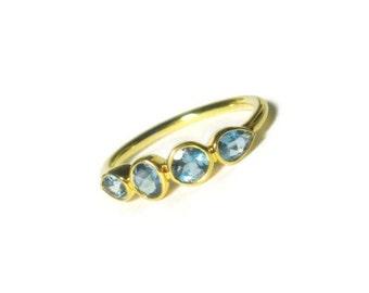 25% OFF Aquamarine 14K Gold Ring, Made to Order, Birthstone Band