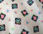 "Vintage Neon Heart Print Cotton Fabric, c. 1980's (58"" x 1.5 yards)"