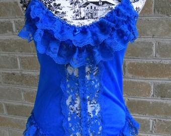 Vintage Royal Blue Lace Teddy Bodysuit/ Bright Blue Lingerie / Royal Blue Teddy / S