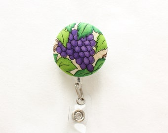 Grape Vine ID Badge Reel/Nurse/Doctor/Medical/Teacher/School/Office/Wine/Purple/Green