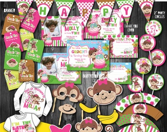 Girls Monkey Birthday party package, Printable Monkey Printable Party Decoration, First Birthday party,1st Birthday, Printable Decorations