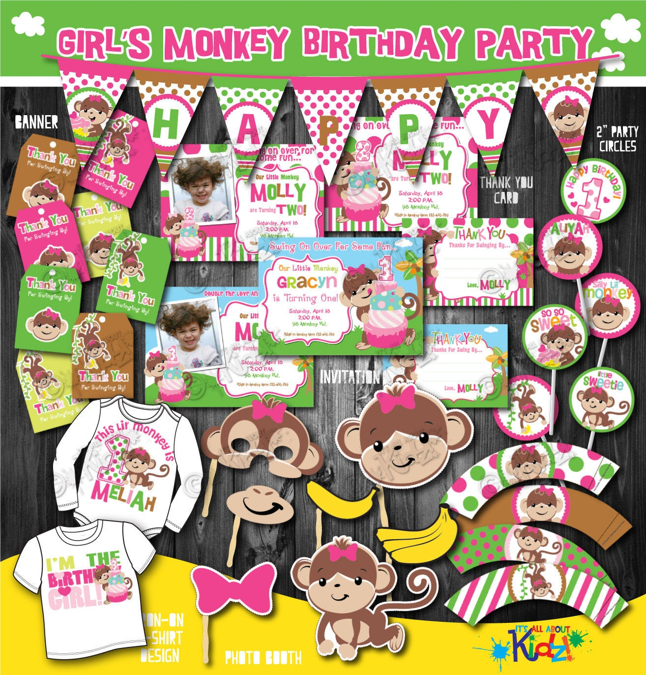 Girls monkey birthday party package printable monkey for 1st birthday decoration packages