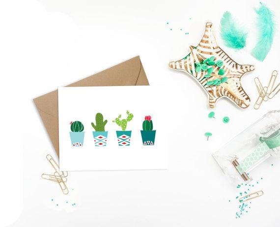 Potted Cactus Card - Modern Geometric Greeting Card - Southwestern Art Card