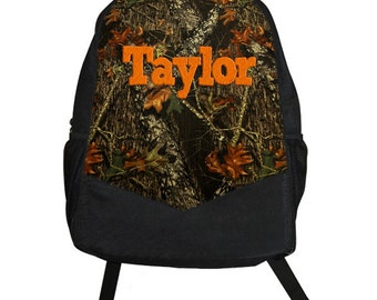 Custom Personalized CAMOUFLAGE mossy woods Kids Boy Backpack tote School Camp Monogram camo orange