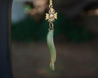 Green Jade serpent stone necklace stone jewelry