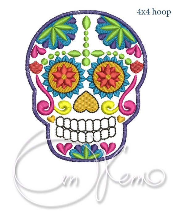 Machine Embroidery File Sugar Skull Calavera
