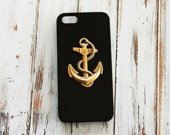 Black iPhone 5s Black Gold Nautical iPhone 6s  S4 iPhone 5 5s 5c Black Cover Nautical iPhone 5c Anchor iPhone 6 Plus Cover