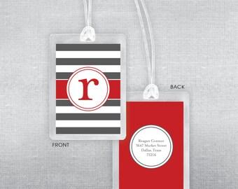 Nautical and initial luggage tag. Bag tag.