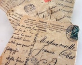 Vintage French Postcard Coasters w Beautiful Script, Rustic, Calligraphy Neutral Colors Set of 4