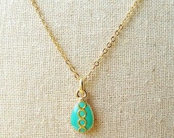 Tiny Teardrop Necklace, Cerulean Green Teardrop Necklace, Green Resin Teardrop Green Necklace, Resin Jewelry For Her