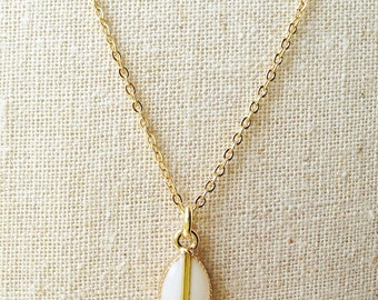 Tiny Teardrop Necklace, White Teardrop Necklace, Ivory Teardrop Necklace, White Resin Teardrop Gold Necklace, Resin Jewelry For Her