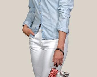 Psychedelic Grey Lotus Hand Clutch-handbag-wristlet-handmade-digitalprinted-makeupbag-red-lotusprint-Free Shipping