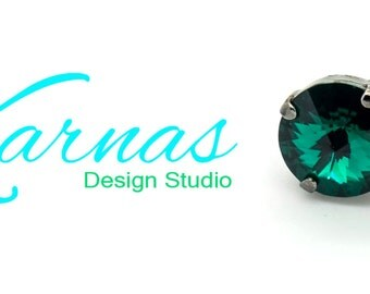EMERALD GREEN 12mm Crystal Rivoli Stud or Post Earrings Made With Swarovski Elements *Pick Your Finish *Karnas Design Studio *Free Shipping*