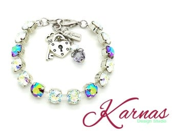 PATINA & AMETHYST AB 8mm Crystal Chaton Bracelet Made With Swarovski Elements *Pick Your Finish *Karnas Design Studio *Free Shipping*