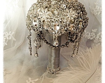 Keepsake Brooch Bouquet. Deposit on Great Gatsby Diamond Jeweled Crystal Bling Broach Bouquet with dangling jewelry. Quinceanera bouquet