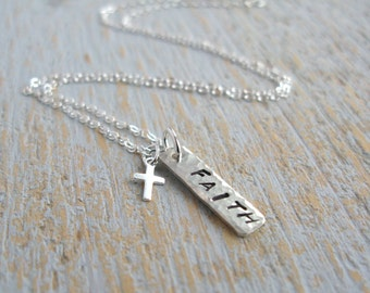 Faith Necklace, Cross Necklace, Faith Word Necklace, Sterling Silver Necklace, Cross Pendant Necklace