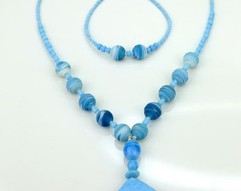 Jewelry set blue casual jewelry set beaded jewelry set y necklace boho chic jewelry set blue jeans jewelry gift set light blue gift for her