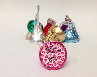 Pink Cheetah Heart ~ Its A Girl ~ 108 Hershey Kiss Candy Label Stickers
