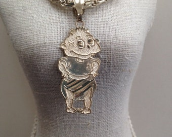 Vintage 1990s Sterling Silver Tommy Pickles Pendant from Rugrats