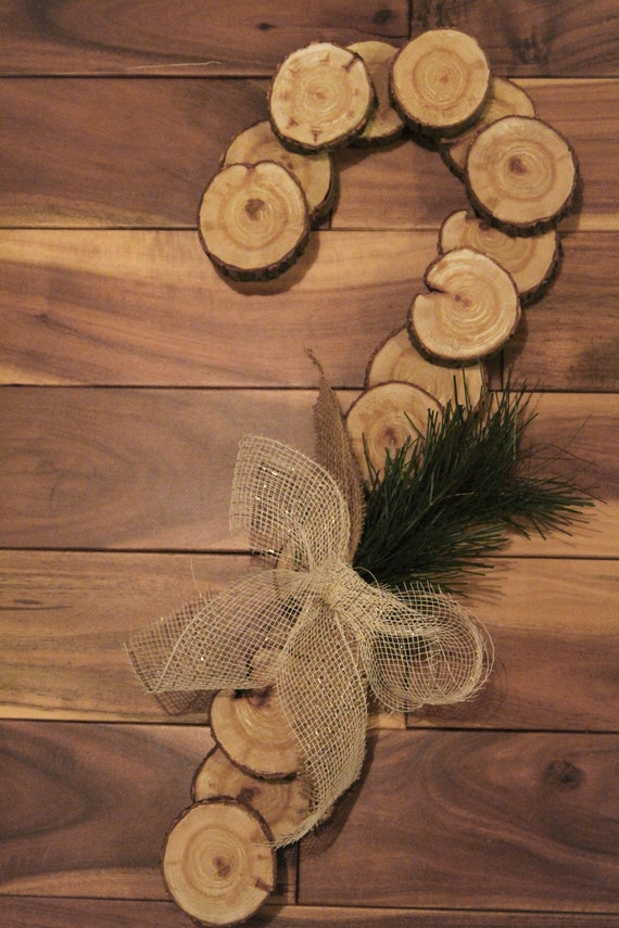 Items similar to rustic candy cane wreath christmas for Wood crafts to make for christmas