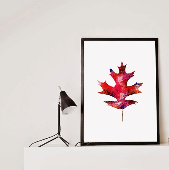 Wall Art Red Leaves : Items similar to oak fall leaf art watercolor print