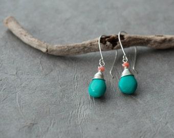 Turquoise earrings, December birthstone earrings, Silver turquoise earrings, Turquoise dangle, Coral and turquoise earring Genuine turquoise