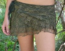 Rosetta Skirt Short , Lace Mini Skirt, Festival Clothing, Cute Skirt, Boho Skirt, Sexy Skirt, Mini Skirt, Pixie Skirt, Goa Skirt, Psytrance.
