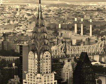 New York City Skyline - 8x10 Sepia Photo Wall Art Picture - Chrysler Building and Queensboro River Bridge at Sunset, Manhattan