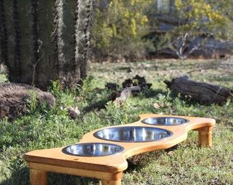 3 Bowl Raised Dog Feeder, U Pick Stain Tint, 1-ThreeQuart, and 2-ThreeQuarterQuart Bowls,Cat Dish Holder, 4,5,6, or 7 Inch Tall, Made2Order