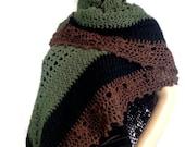 Outlander Claire Shawl Wrap Green Brown Black Lace Scottish Fraser Tartan Winter accessories Diana Gabaldon Crocheted  FREE SHIPPING