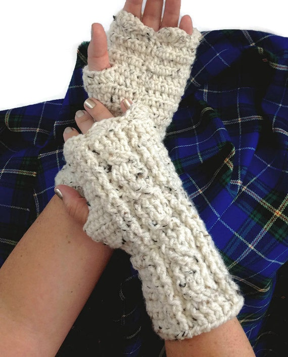 Outlander Claire Fingerless Texting Gloves Cables Cream White Scottish Chunky Knit Winter accessories Mitts FREE SHIPPING A102