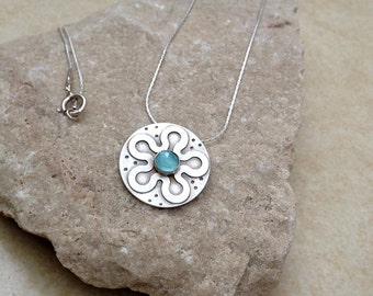 Sterling silver flower pendant, silver Necklace, Blue Topaz stone, Gemstone,  Sterling silver pendant, Blue stone