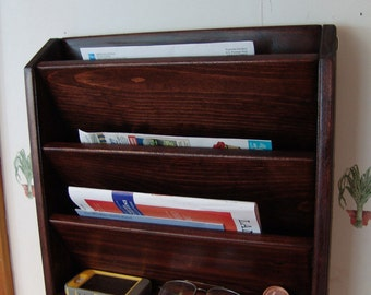 Mail Letter Rack Handcrafted Wood Organizer Key Holder Sorter WALL or DESK, Red Mahogany or other colors