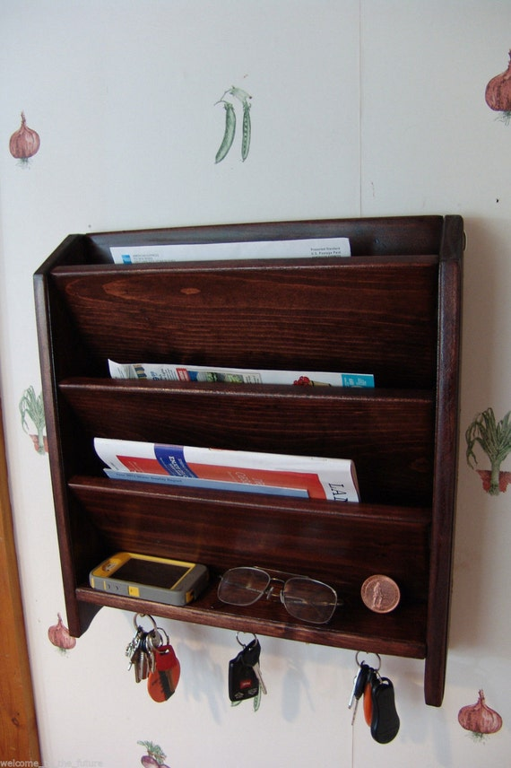 Mail letter rack handcrafted wood organizer key holder sorter - Wooden letter and key holder ...