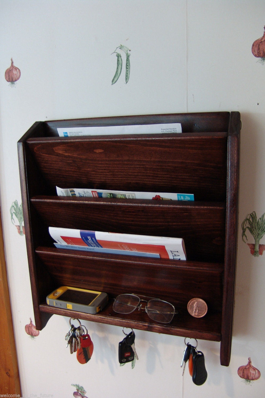 Mail Letter Rack Handcrafted Wood Organizer Key Holder Sorter