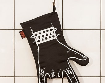 Rock'n'roll oven mitt BLACK BBQ  printed by hand - oven mitt - horns hand - right hand