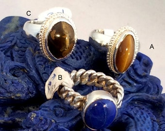 Size 6 Sterling Silver Ring, Tiger Eye or Blue Lapis. free US ship 35.00 ea