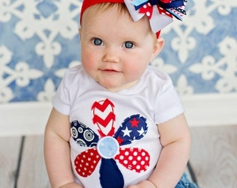 4th of July Frayed Flower - Girls Applique Shirt or Bodysuit & Matching Hair Bow Set