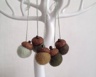 Colors of the Forest - Set of 5 Medium Felted Wool Acorn Ornaments