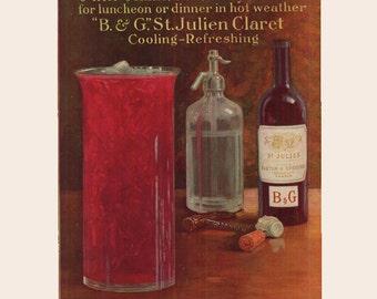 Original Life magazine ad for B & G St Julien Claret, Bordeaux France, matted in off-white- drink35