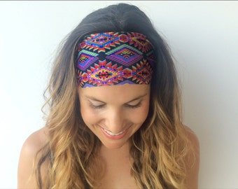 Yoga Headband - Workout Headband - Fitness Headband - Festival Print - Boho Wide Headband