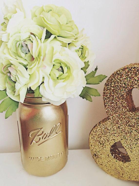 Metallic Gold Mason Jars - Mason Jar Centerpiece - Mason Jar Wedding Decor - Home Decor - Office Decor - Flower Vase