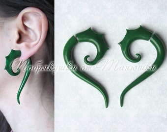 Green Fake Gauge With Spikes / Fake Gauge Earrings / Fake Ear Stretchers, Polymer Clay, 6g 5g 4g 3g 2g 1g 0g 00g 7/16 1/2 9/16 5/8 11/16 3/4