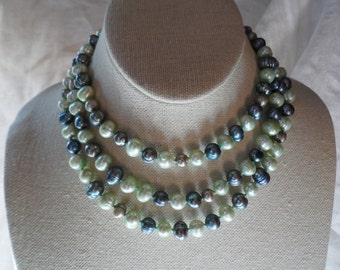 "48"" seafoam and blue pearl necklace"