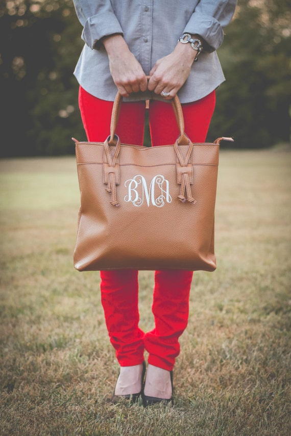 monogrammed faux leather tote purse bag houston