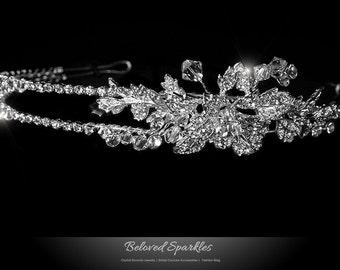 Floral Cluster Swarovski Crystal Headband, 2 Rolls Flower Cluster Crystal Headband, Bridal Headband, Vintage Victorian Reign Headband