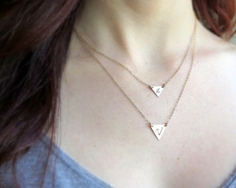 Gold Triangle Necklace • Geometric • Layering Necklace • Initial • Minimal • Dainty Gold Necklace • 14 K Gold Fill • Optional Set Of 2