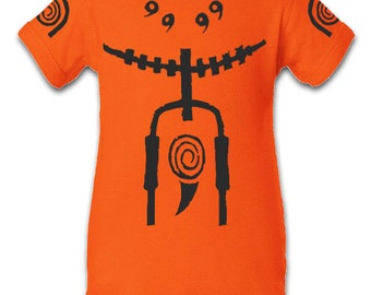Naruto Kyuubi Inspired Character Onesie Infant Baby Newborn Onesie Creeper Crawler One Piece Bodysuit 100% combed ringspun cotton
