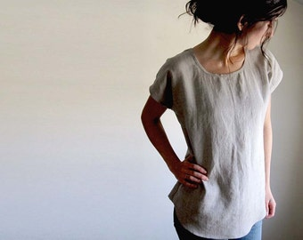 Linen Tunic Top, Linen Clothing, Flax Blouse,  Linen Shirt, Scoop Hem, Woven Tee, Tank, Thimble and Acorn, Handmade in Vermont
